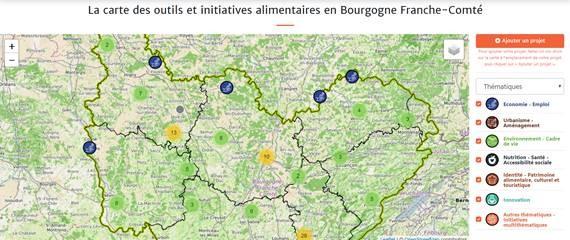 Carte des outils et initiatives alimentaires en Bourgogne Franche Comté